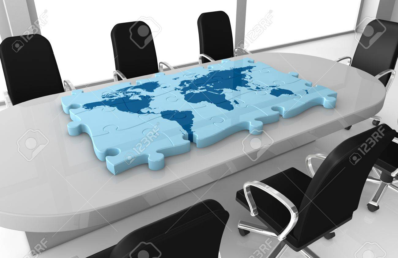 One office room with a world map made with puzzle pieces on the one office room with a world map made with puzzle pieces on the table 3d gumiabroncs Images