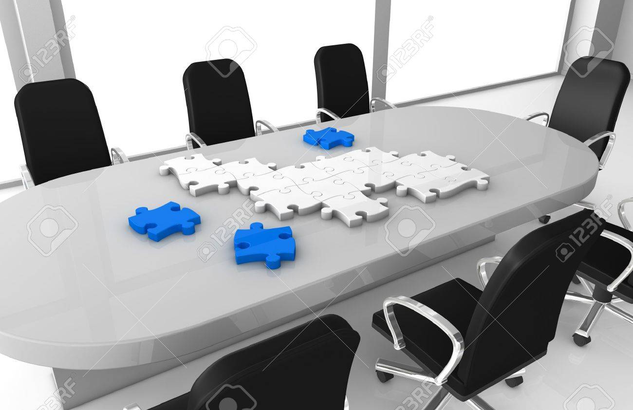 one office room with puzzle pieces that build something (3d render) Stock Photo - 11146128