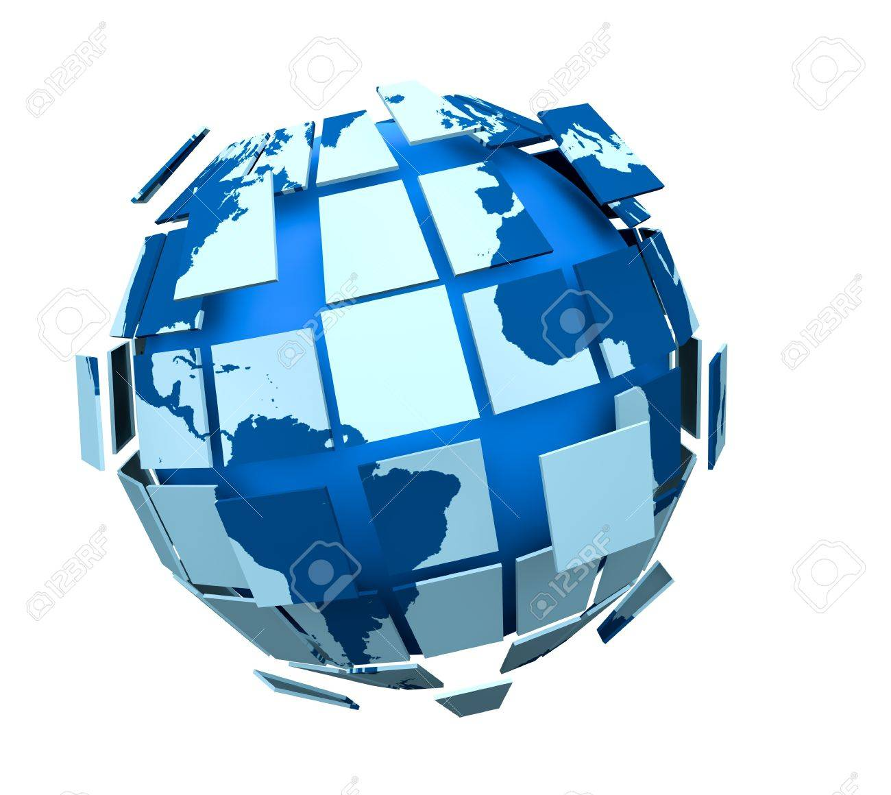 one 3d globe made with many pieces that are joining or dividing each other, concept of union or division (3d render) Stock Photo - 11240585