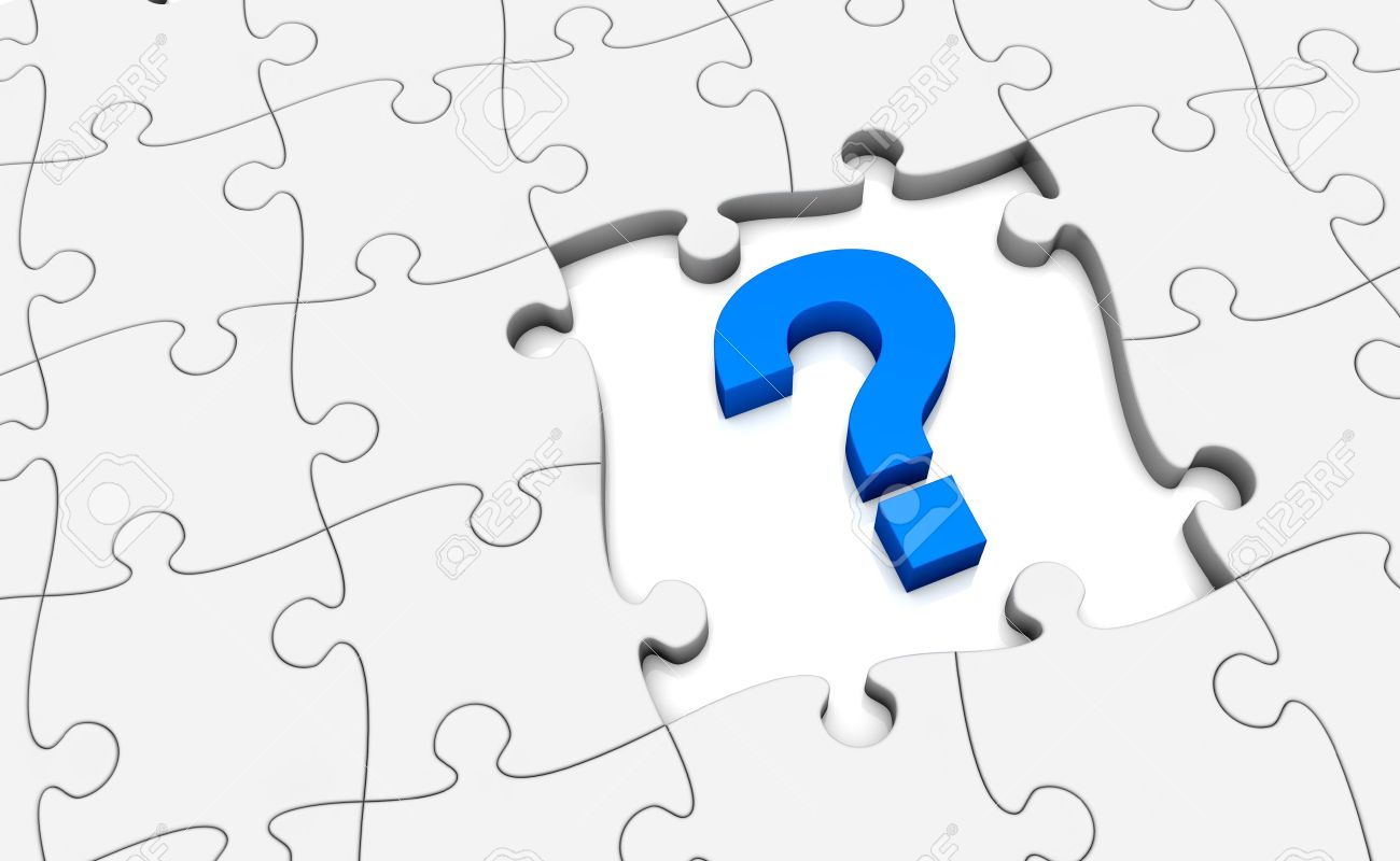 Jigsaw Puzzle With A Question Mark And Missing Pieces 3d Render Stock Photo