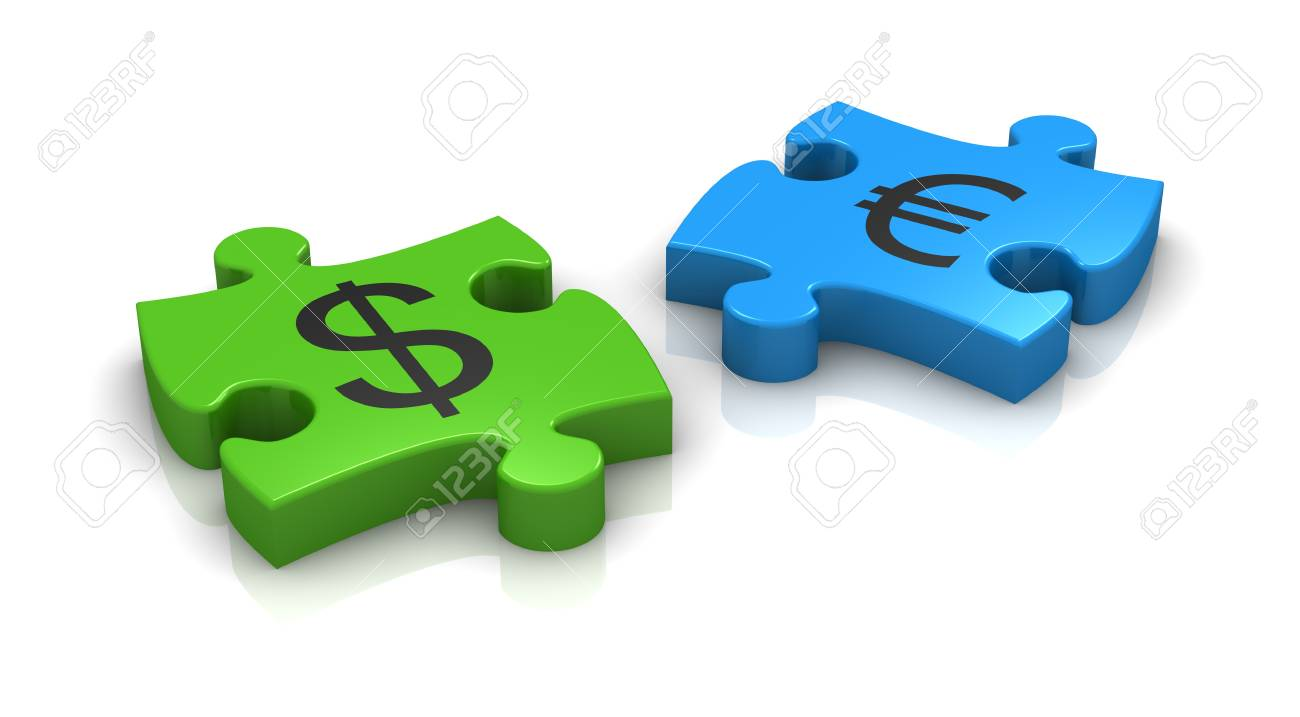 Puzzle pieces with the symbols of euro and dollar currency 3d puzzle pieces with the symbols of euro and dollar currency 3d render stock photo biocorpaavc Images