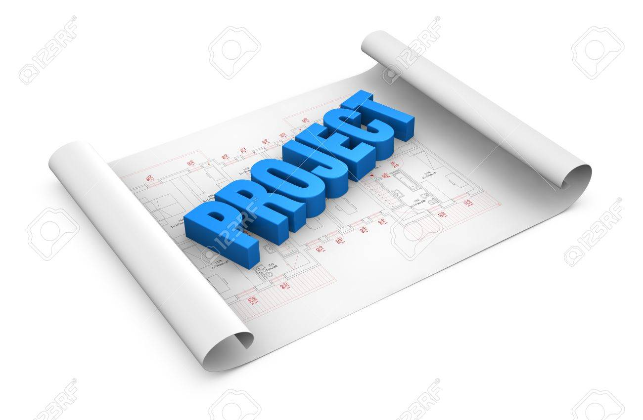 the word: project placed over a plan project (3d render) Stock Photo - 11505631