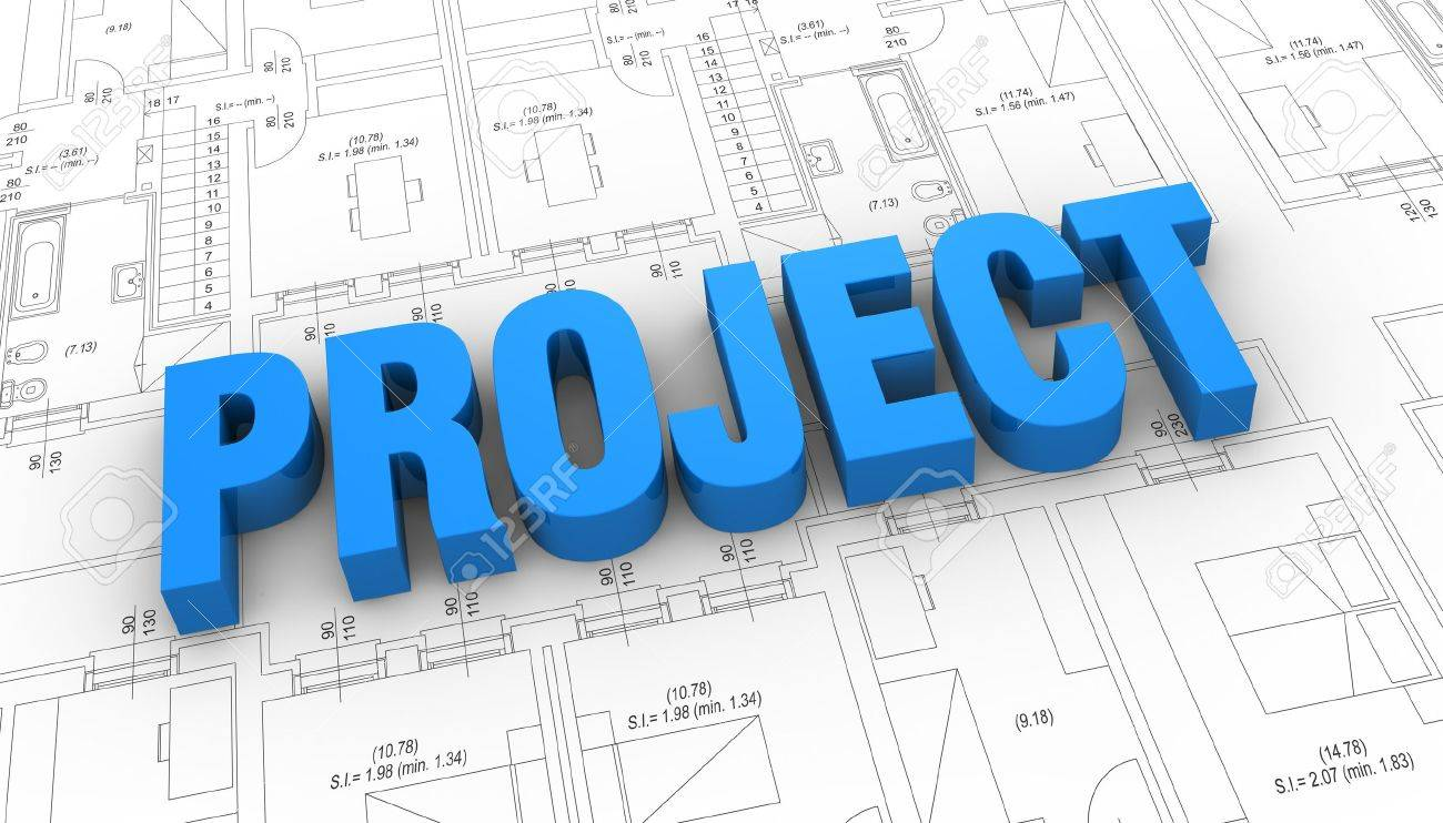 The Word: Project Placed Over A Plan Project (3d Render) Stock ...
