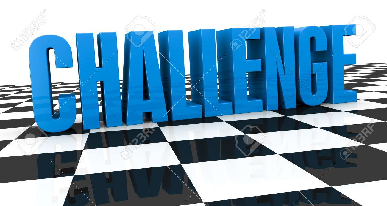 Close Up Of A Chess Board With The Word: Challenge, Over It (3d ...