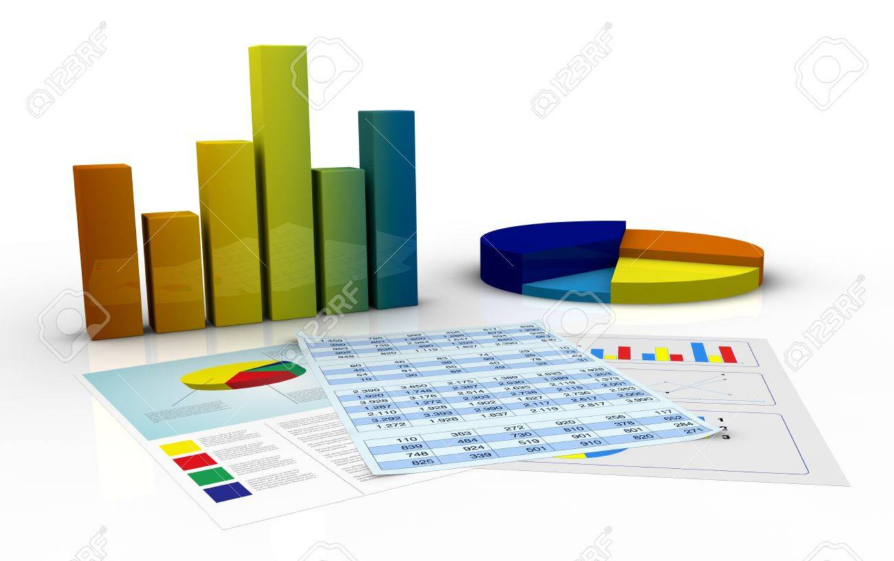 bar and pie charts and paper documents with spreadsheet and financial data (3d render) Stock Photo - 11505737