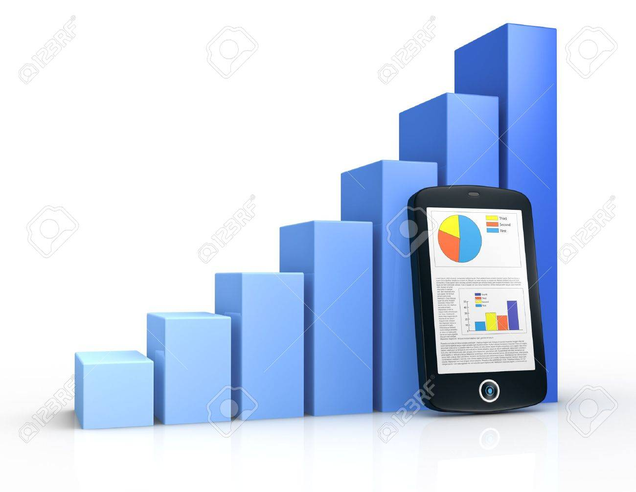 one growing bar chart and a portable device with financial data (3d render) Stock Photo - 11505680