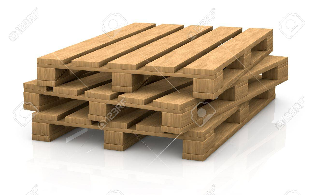 View Of Some Wooden Pallets (3d Render) Stock Photo, Picture And ...