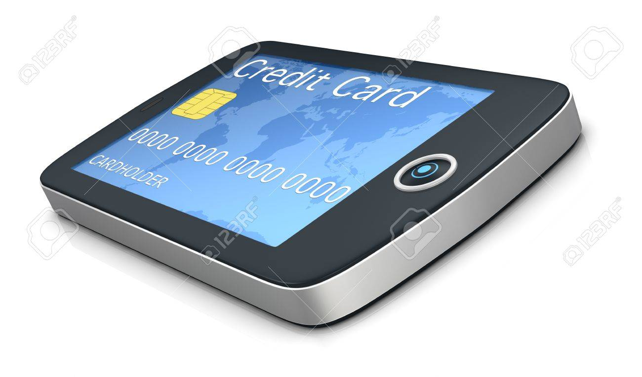 one mobile computer device with a credit card, concept of online shopping (3d render) Stock Photo - 11505789
