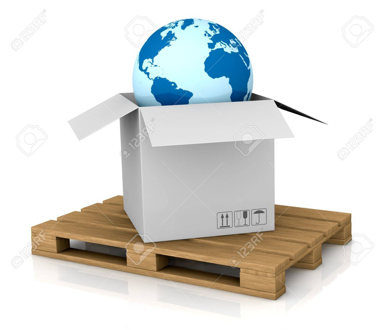 one world globe coming out of a carton box; concept of shipping everywhere (3d render) Stock Photo - 11505790