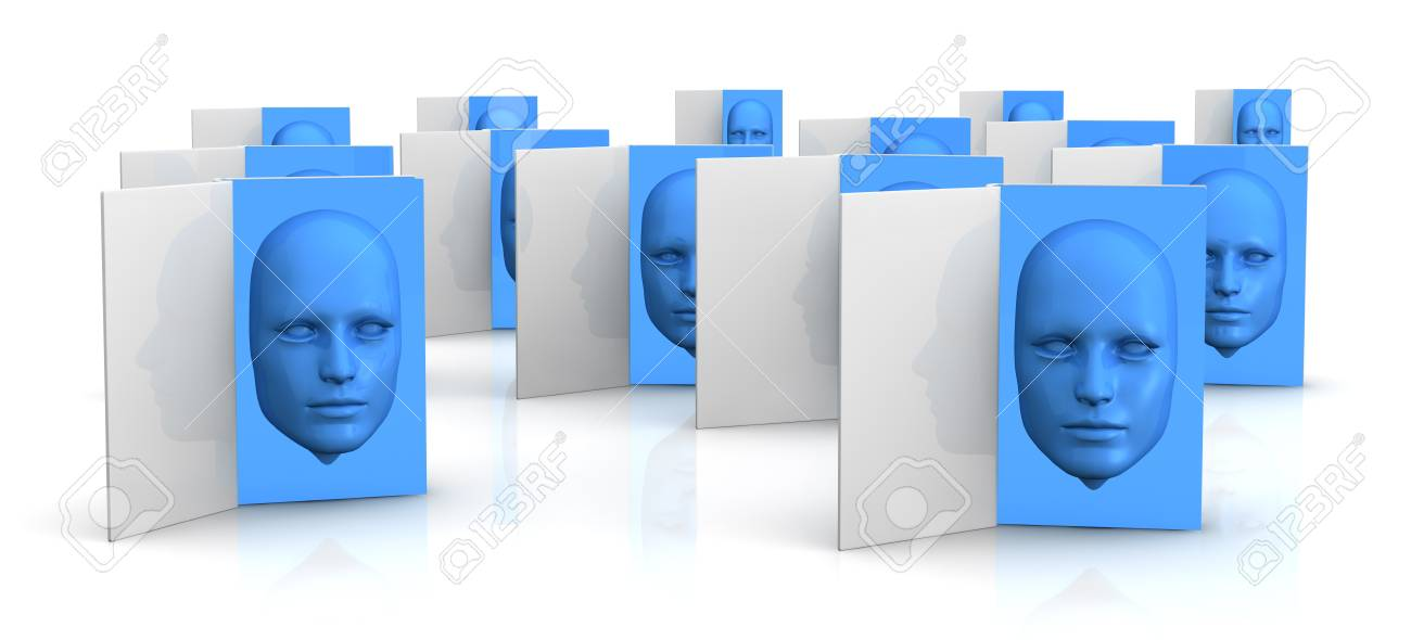 several books with a blue face that goes out from the pages (3d render) Stock Photo - 11909364