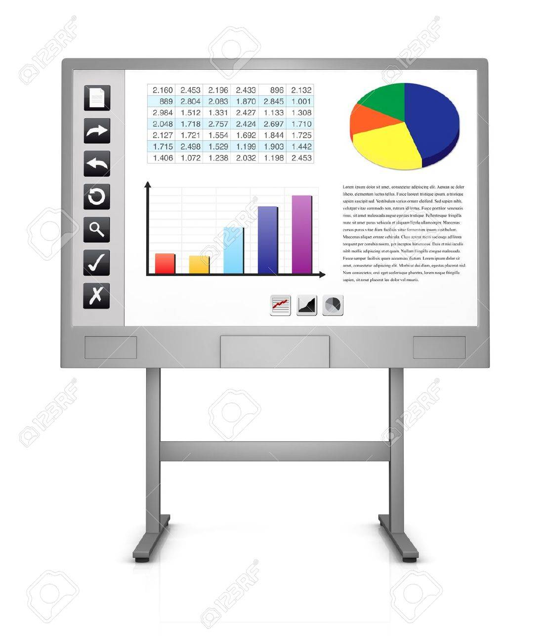 front view of an interactive board that shows a spreadsheet charts and some icons on