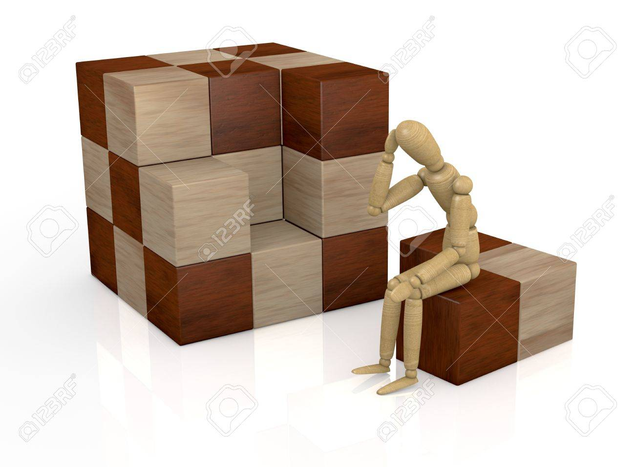 one wooden dummy that thinks how to solve a cube puzzle (3d render) Stock Photo - 12519673