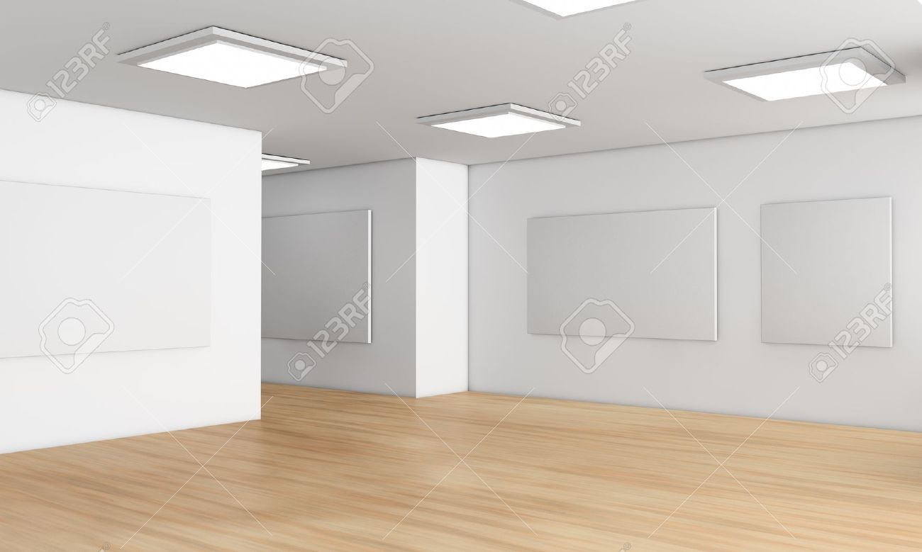 one showroom with a wooden floor and blank panels on the walls  3d render Stock Photo - 12519963
