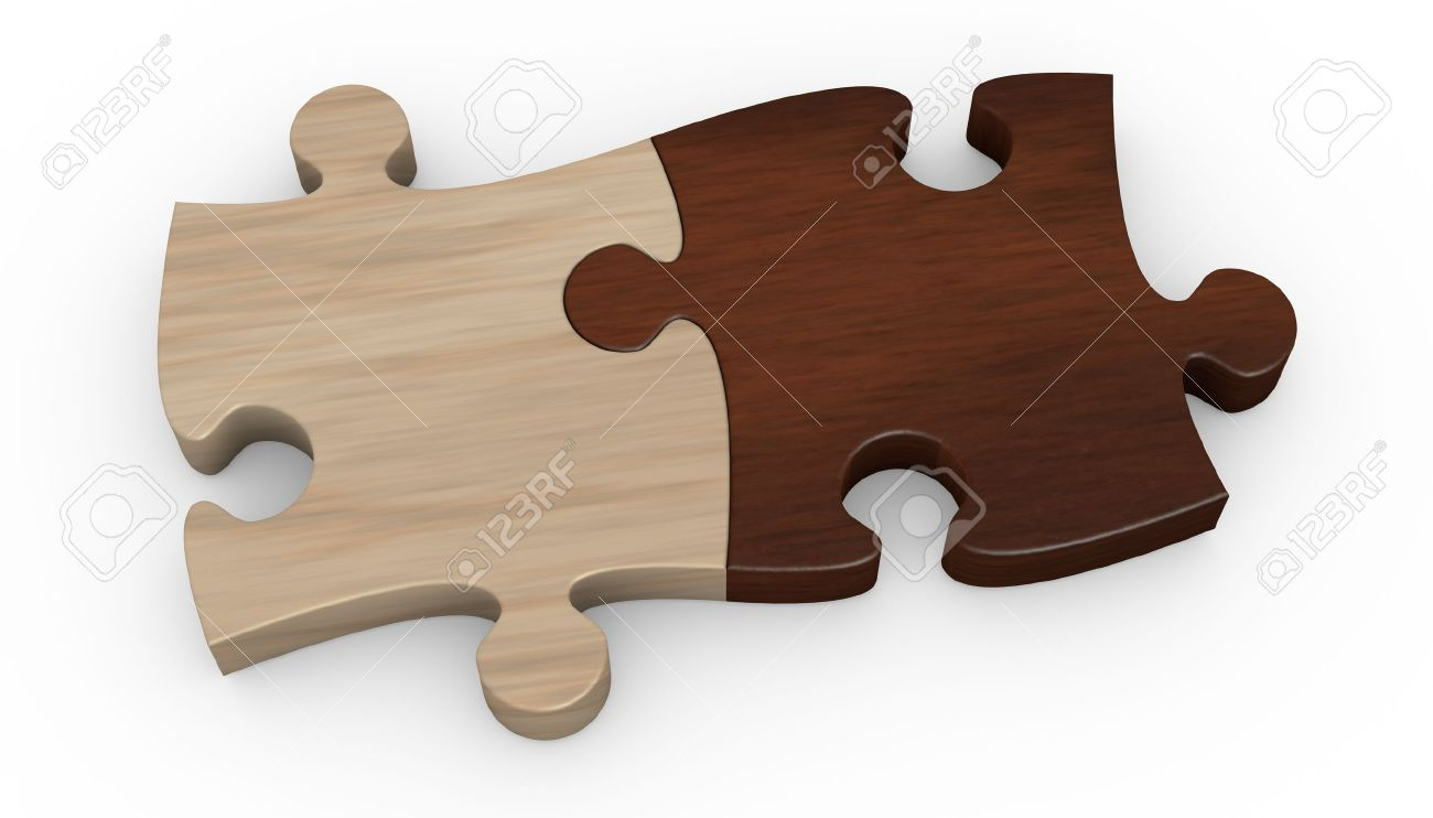 two puzzle pieces in different color the pieces are joined together