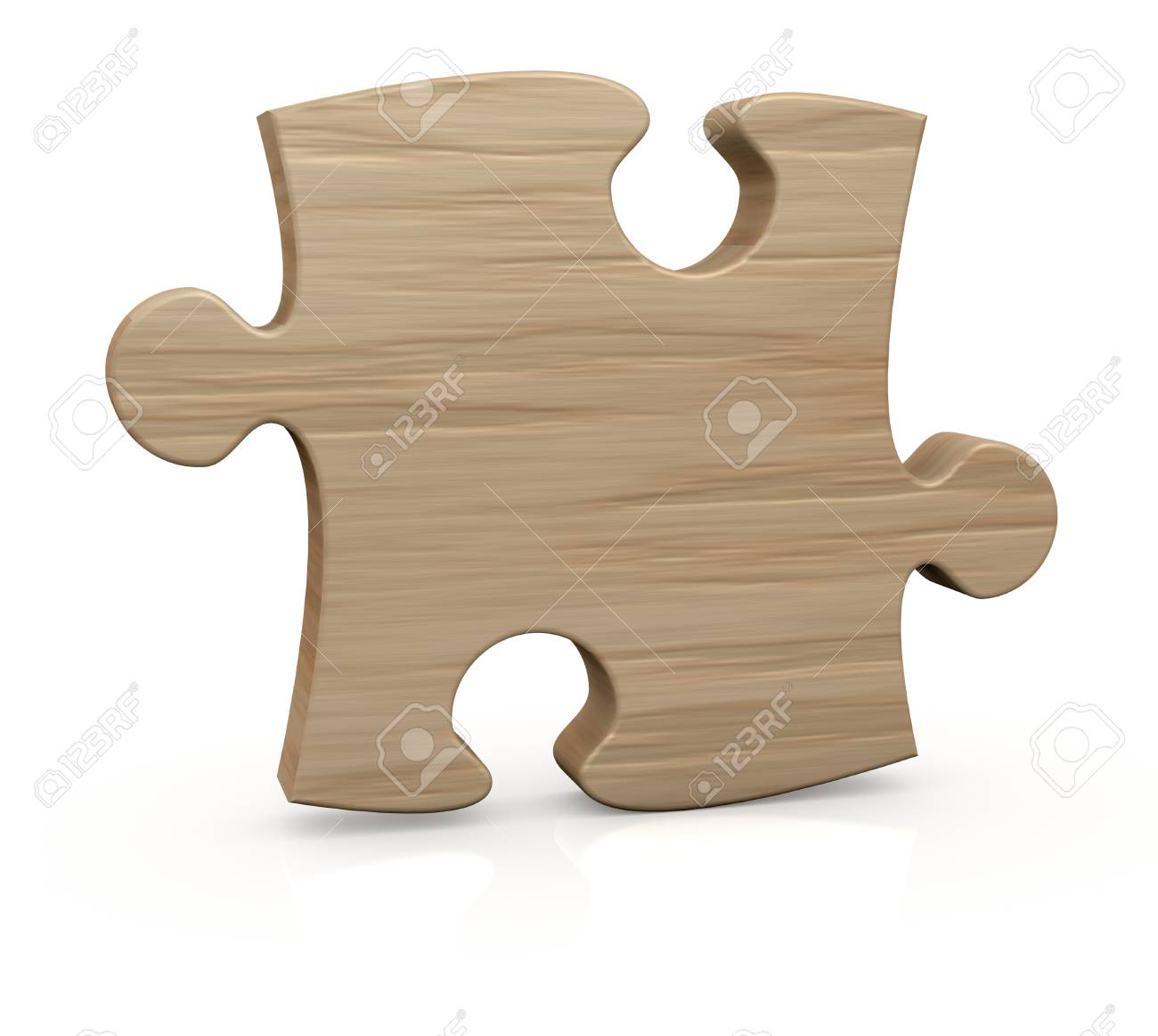 One Wooden Piece Of A Jigsaw Puzzle 3d Render Stock Photo
