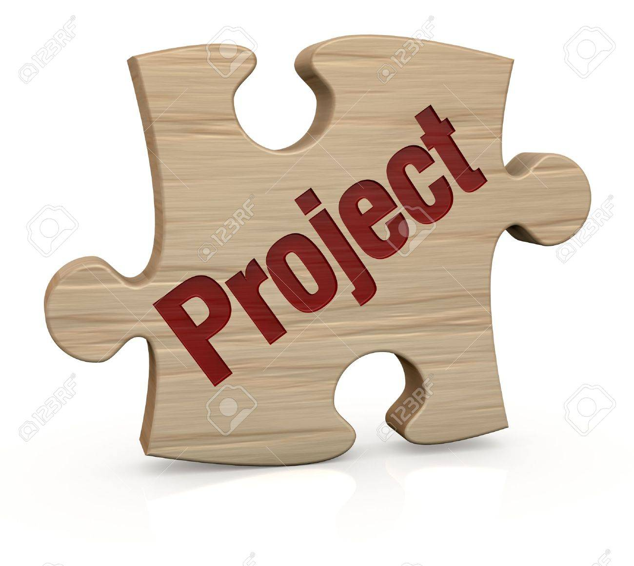 one wooden puzzle piece with the word  project  3d render Stock Photo - 12519873