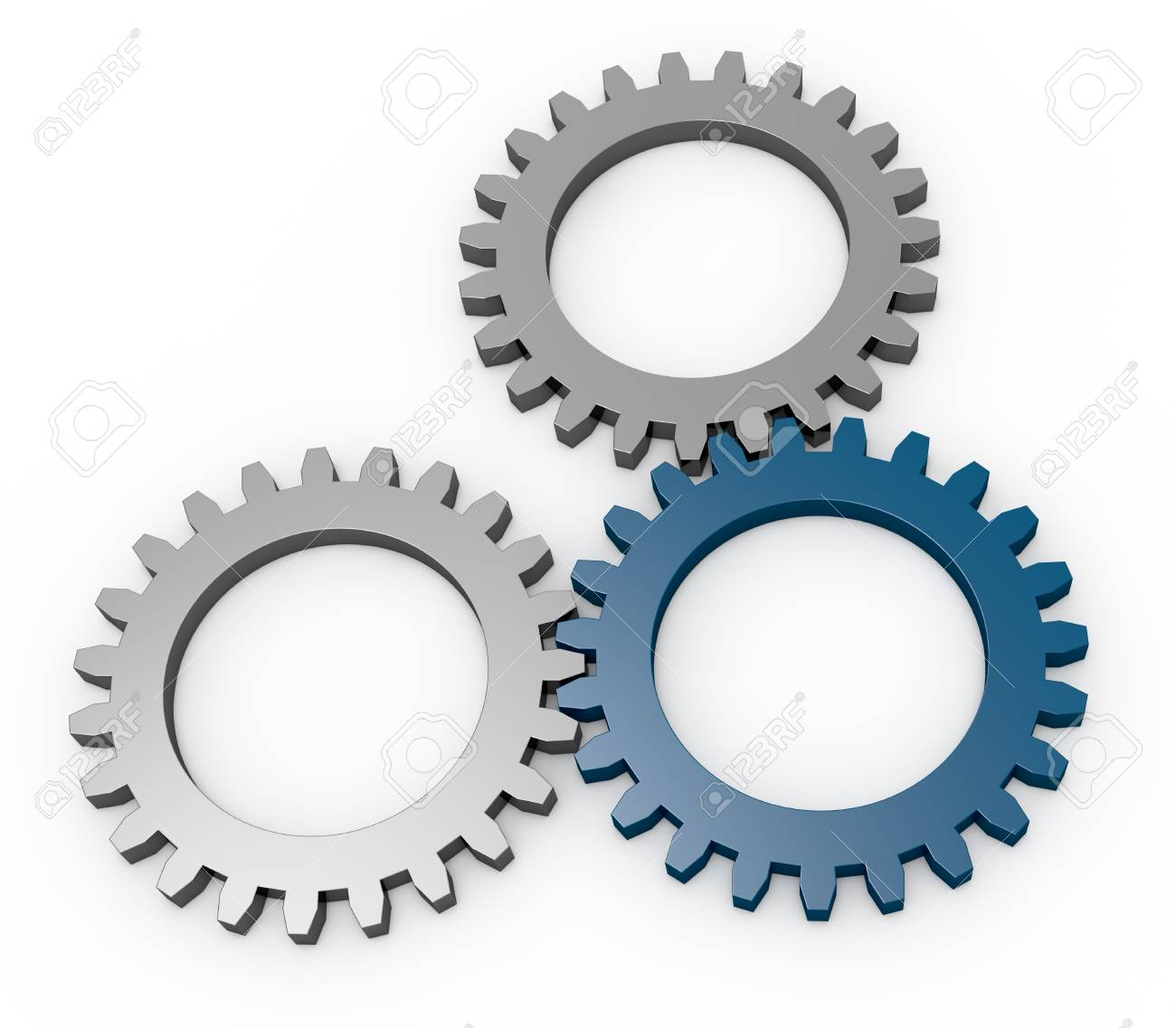 three gears with tone in different color (3d render) - 12826277