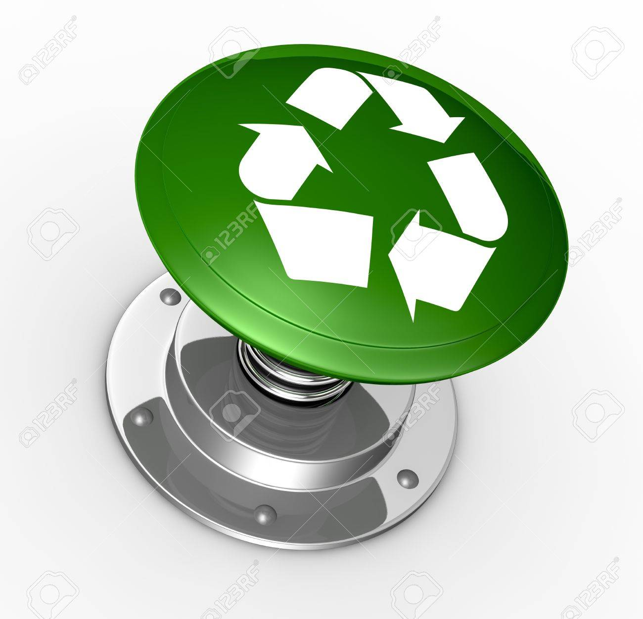 One Big Push Button With The Recycling Symbol 3d Render Stock