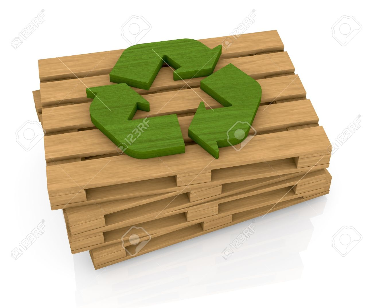 one stack of wooden pallets with a recycling symbol on top, a