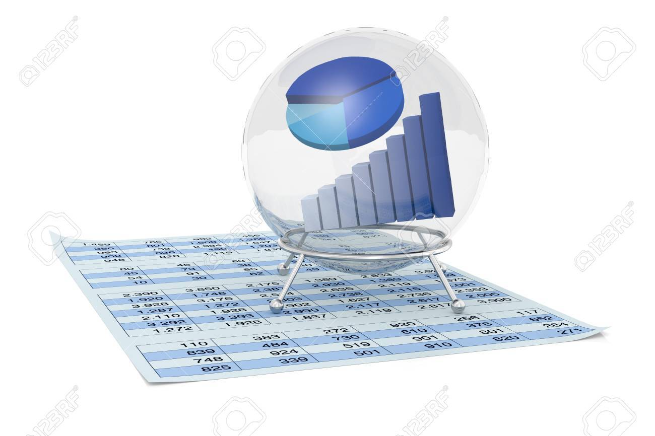 One crystal ball with a bar chart and a pie chart inside it and one crystal ball with a bar chart and a pie chart inside it and a paper nvjuhfo Image collections
