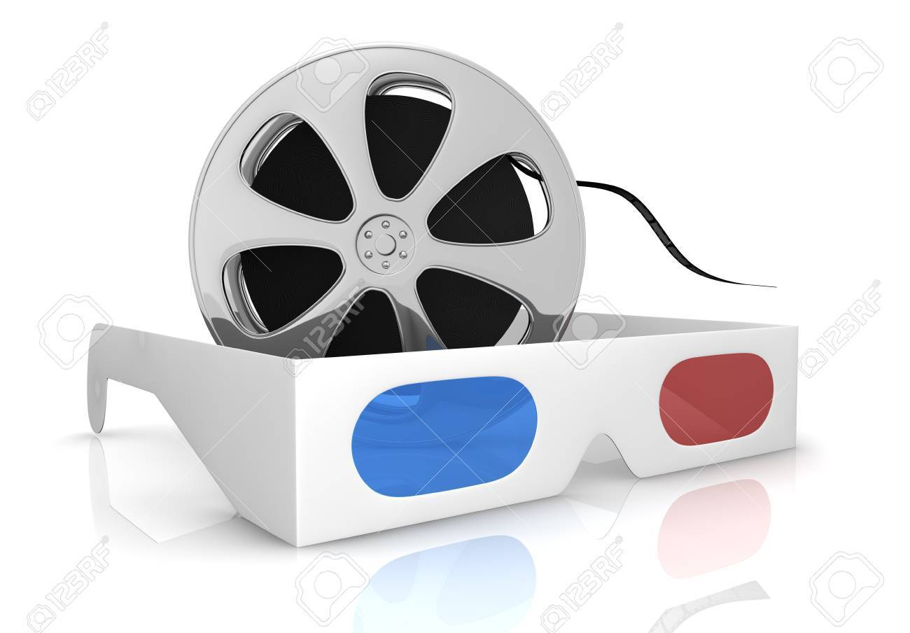 3d glasses with blue and red lens and a film reel, concept of new movie technologies (3d render) Stock Photo - 13060051