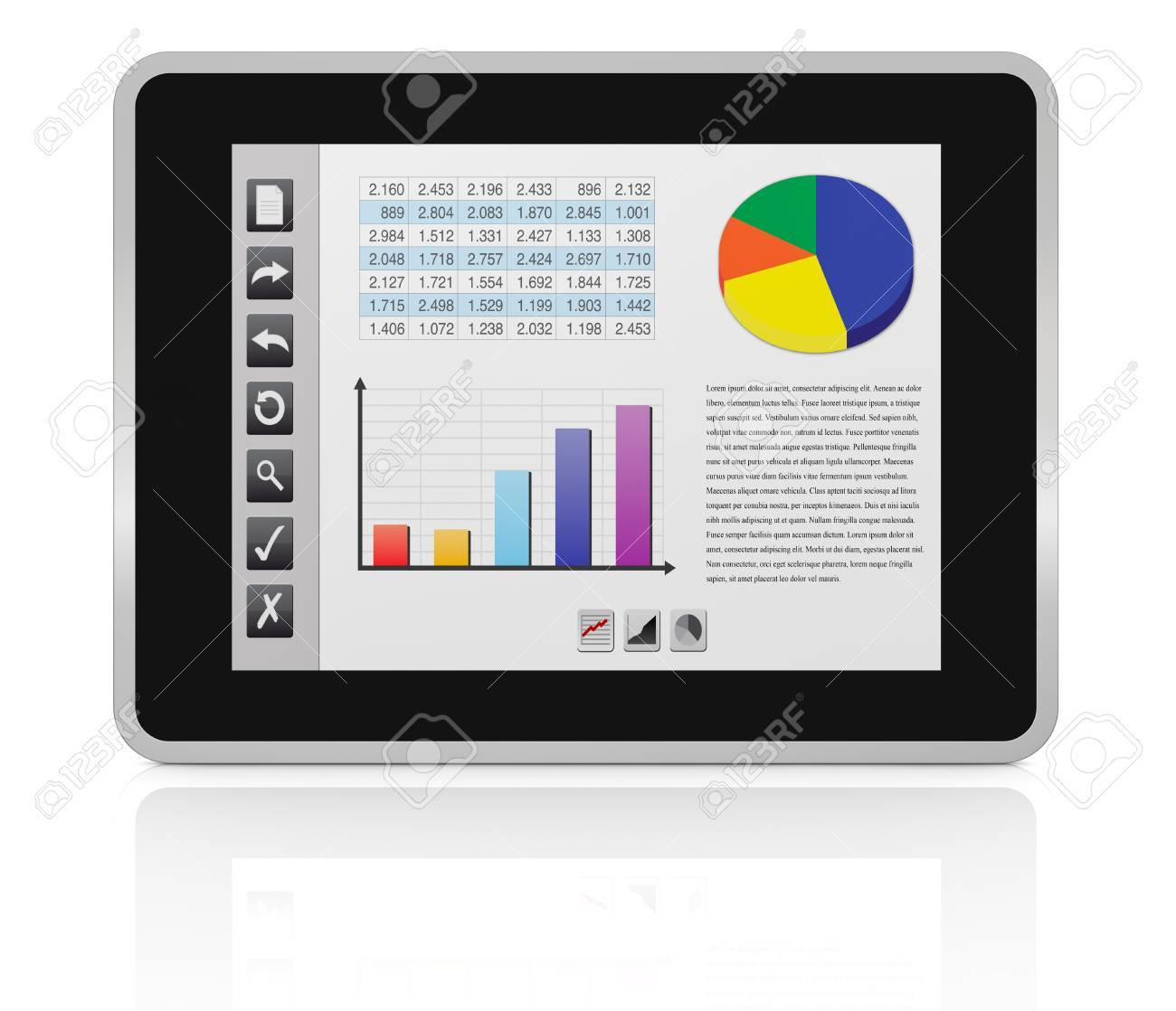 one tablet pc with a buttons interface, that shows a spreadsheet and charts (3d render) Stock Photo - 13409685