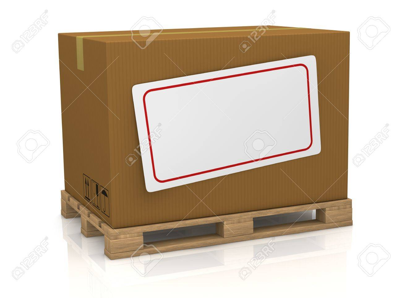 one carton box over a pallet, with a white label for custom text