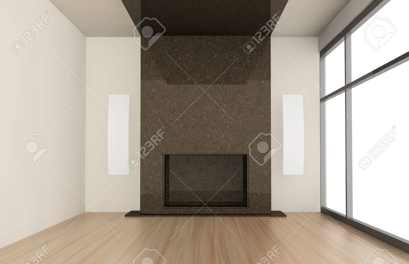 one living room with a big fireplace 3d render stock photo