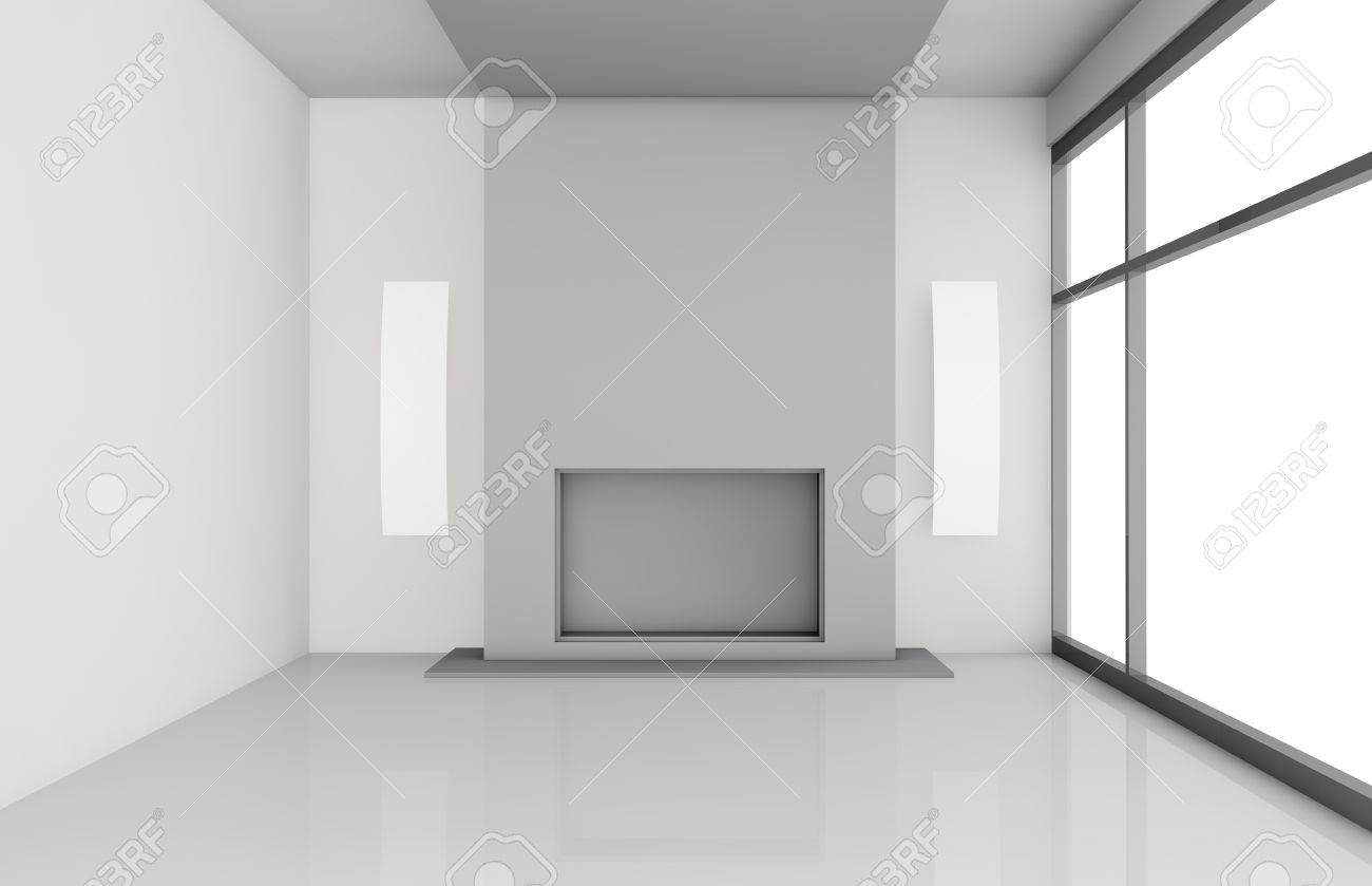 one living room with a big fireplace, the image is without textures (3d render) Stock Photo - 13541476