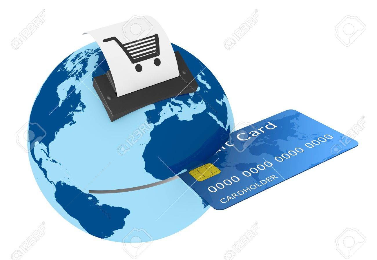 one credit card reader made with a world globe, concept of shopping everywhere (3d render) Stock Photo - 13541467