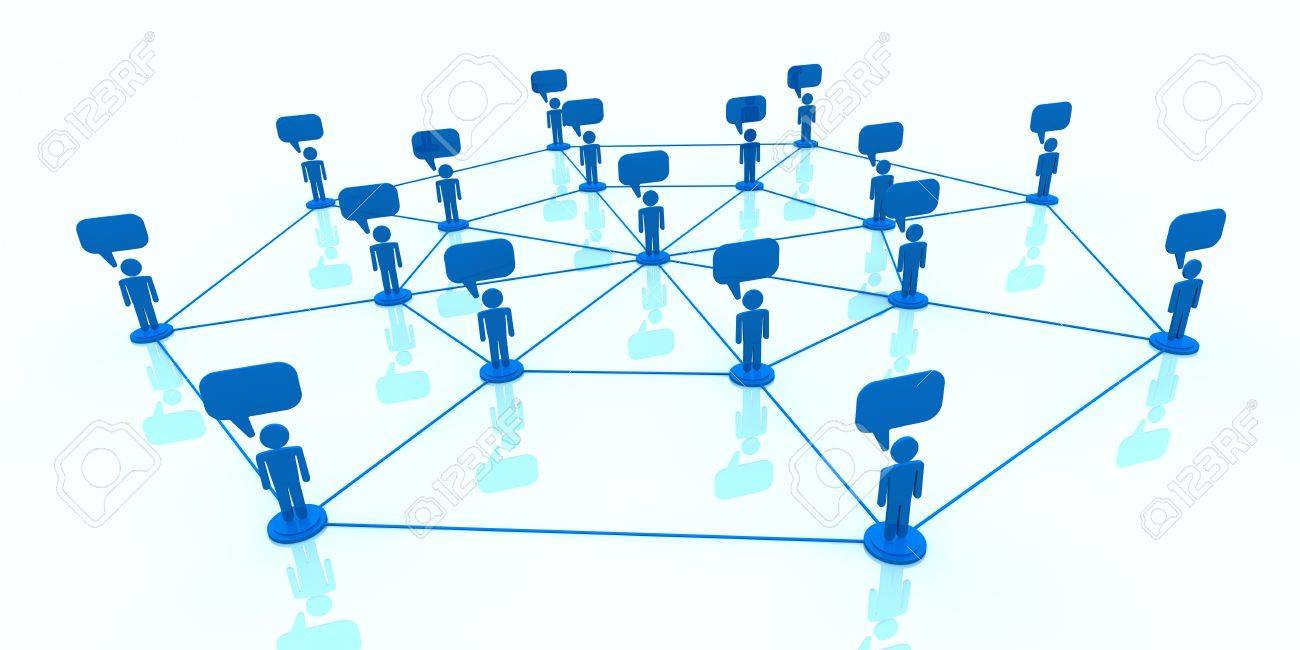 network of stylized men with balloon text  (3d render) Stock Photo - 13727435