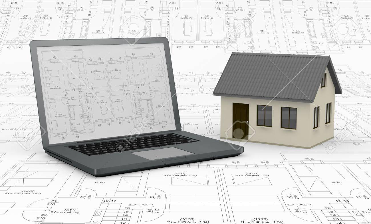 Progettazione Casa Programma : Un computer con un programma sullo schermo e una casa lo sfondo è