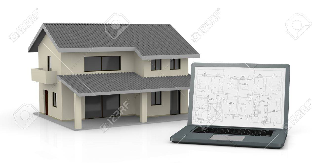 one computer with a blueprint on the screen and a house (3d render) Stock Photo - 13727502