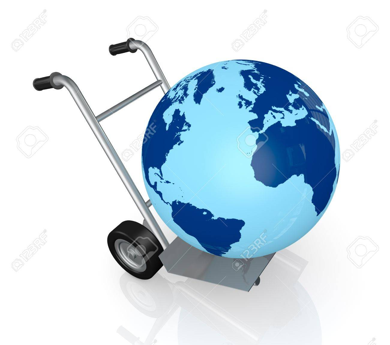 closeup of a hand truck (trolley) with a world globe on it  (3d render) Stock Photo - 13727385