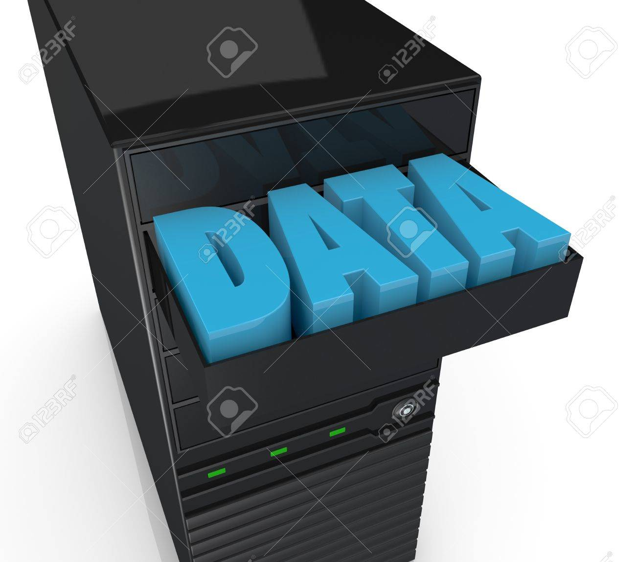 close up of one computer server with a drawer and the word: data into it (3d render) Stock Photo - 13727491