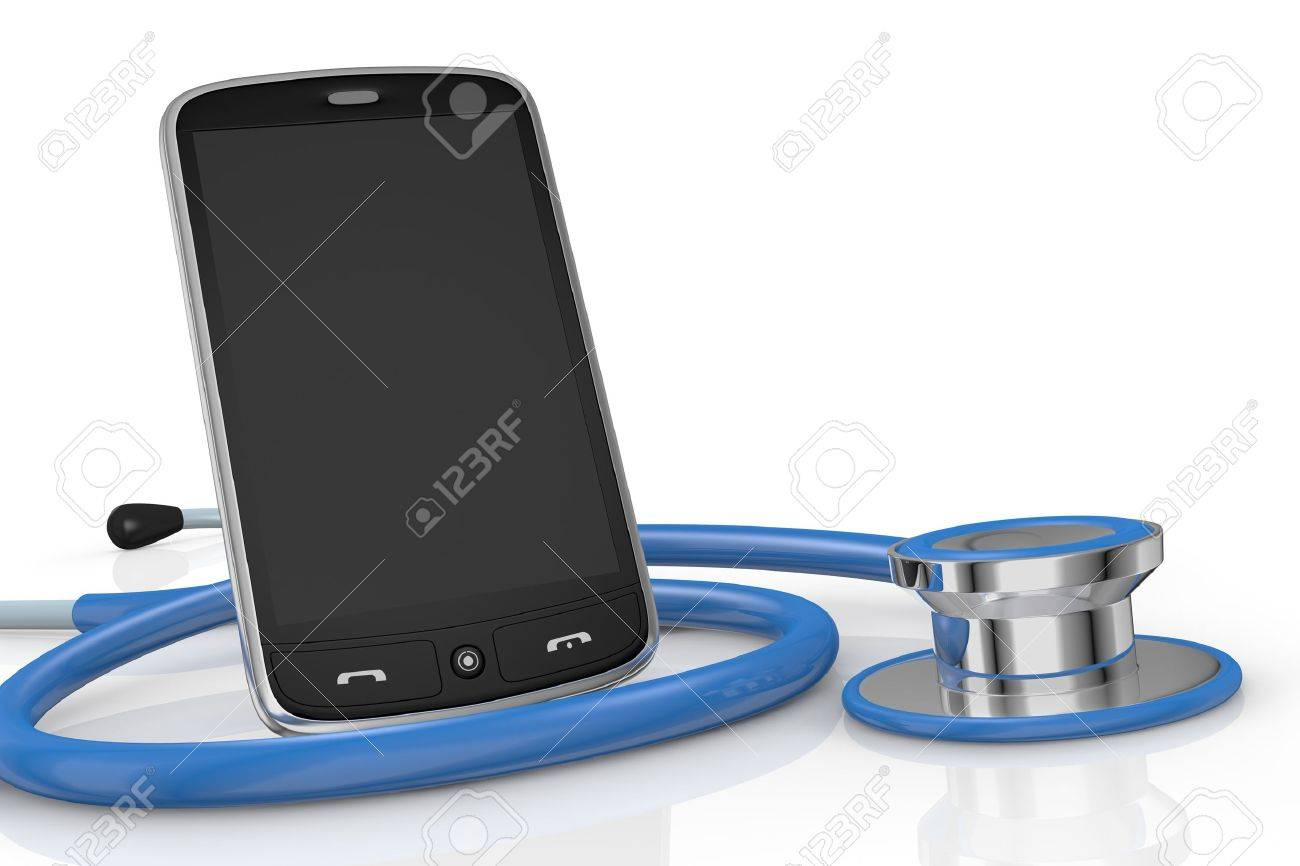 one smartphone and a stethoscope; concept of computer repair or medical technologies (3d render) Stock Photo - 13727390
