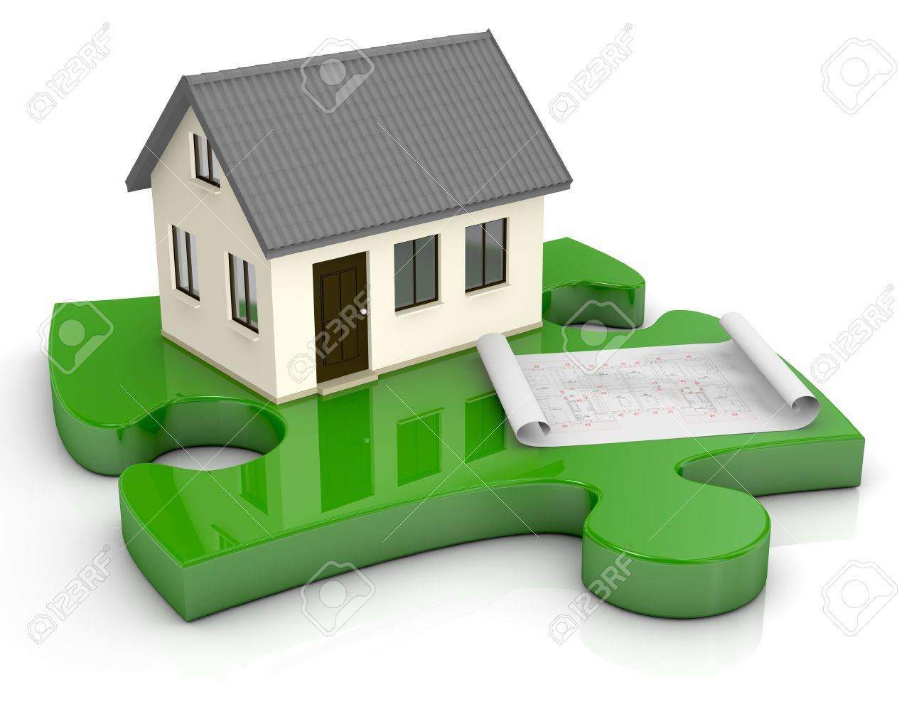 one beautiful house and a blueprint on a puzzle piece (3d render) Stock Photo - 13936477