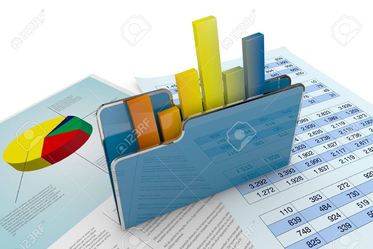 computer folder with chart and spreadsheet (3d render) Stock Photo - 13936490