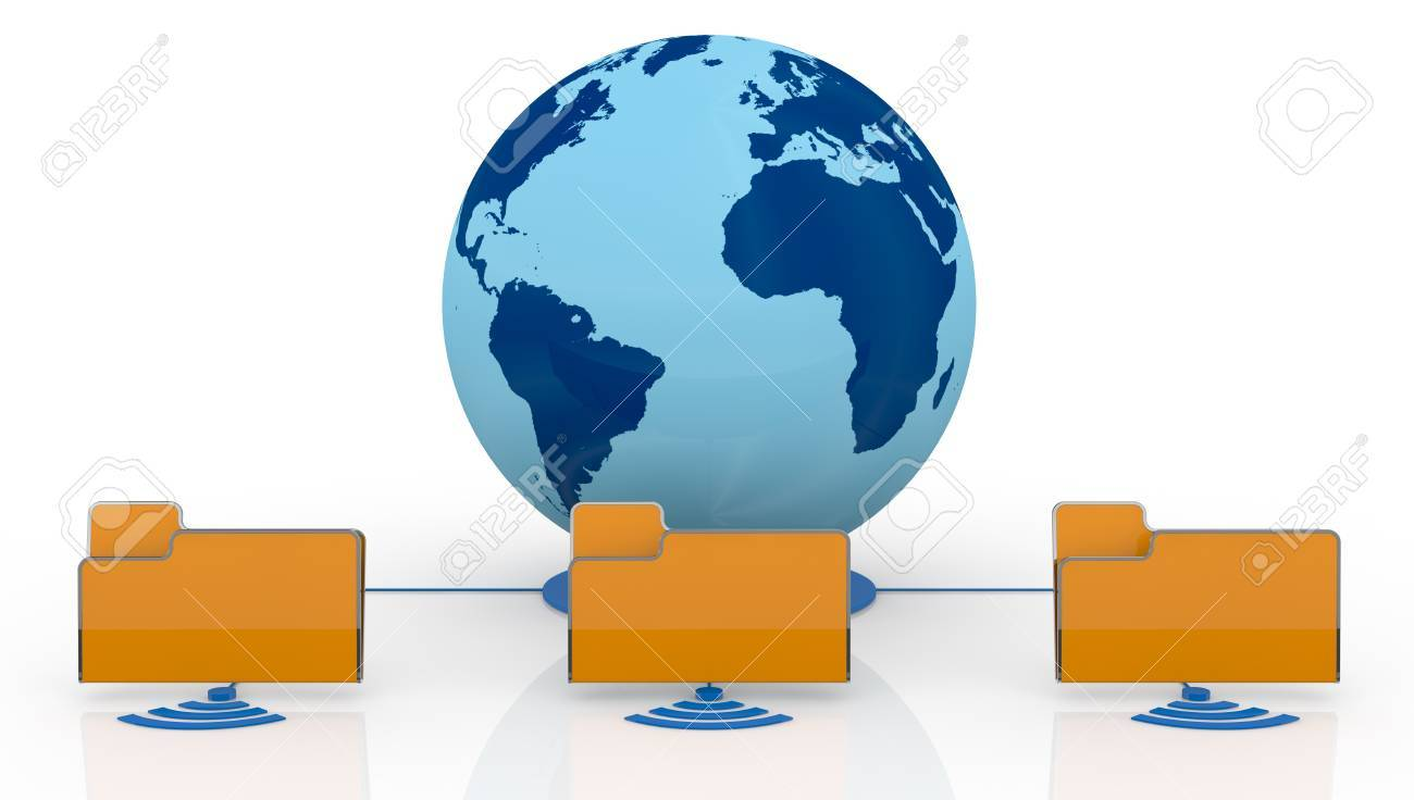 one world globe with wireless connection and three computer folder icons (3d render) Stock Photo - 13936376