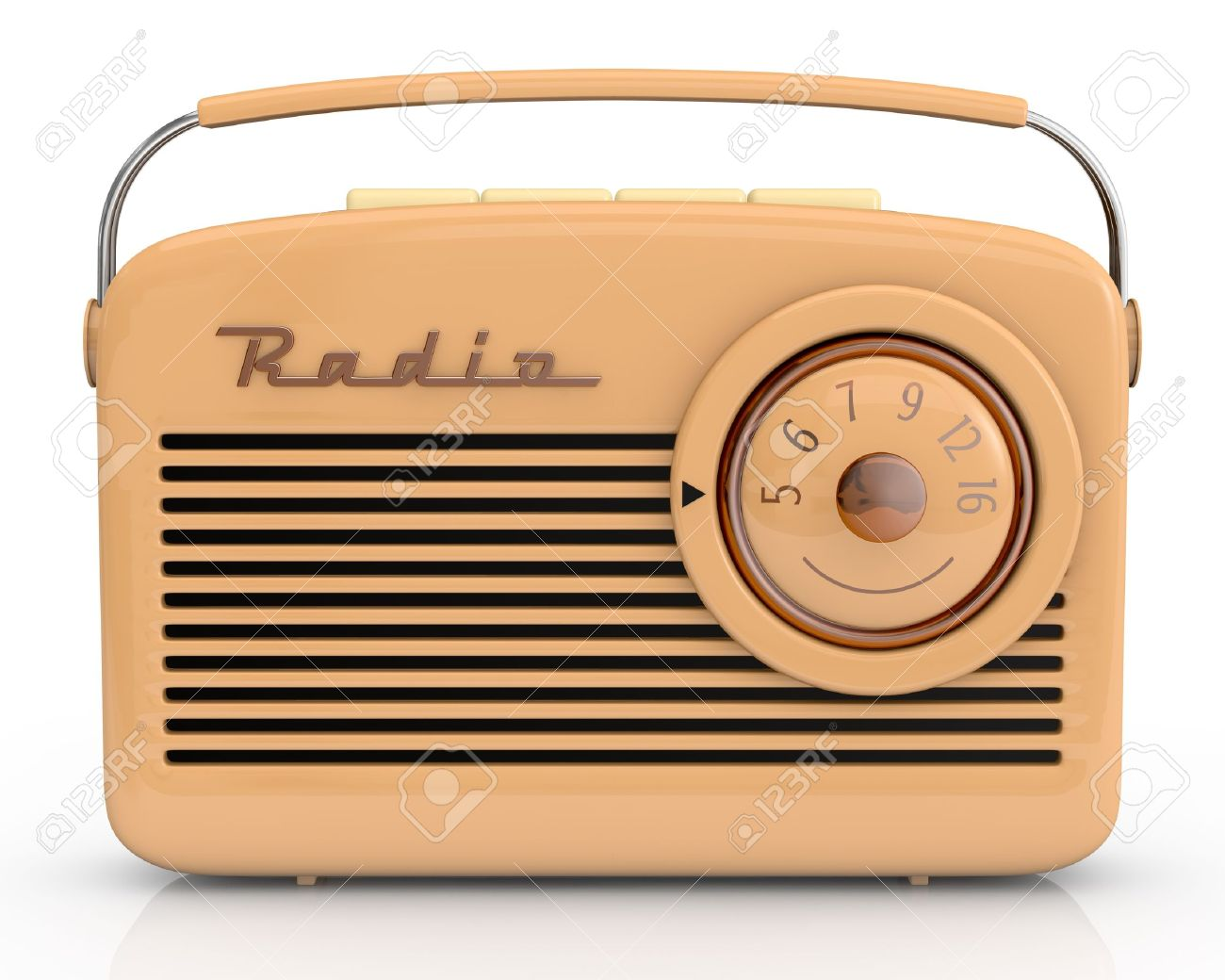 close up view of one beautiful vintage radio 3d render stock