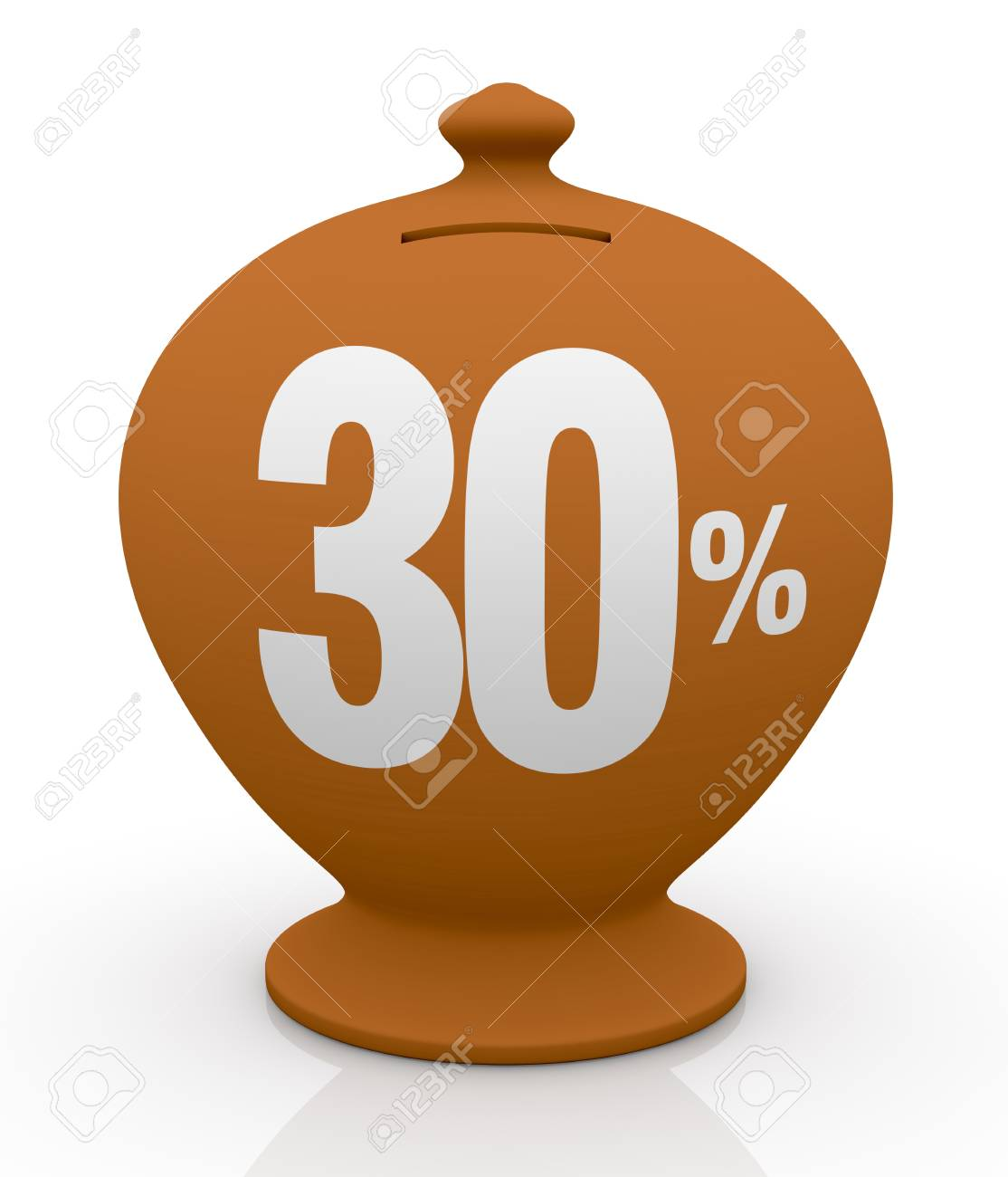 one vintage money box with number thirty and percent symbol(3d render) Stock Photo - 14166937