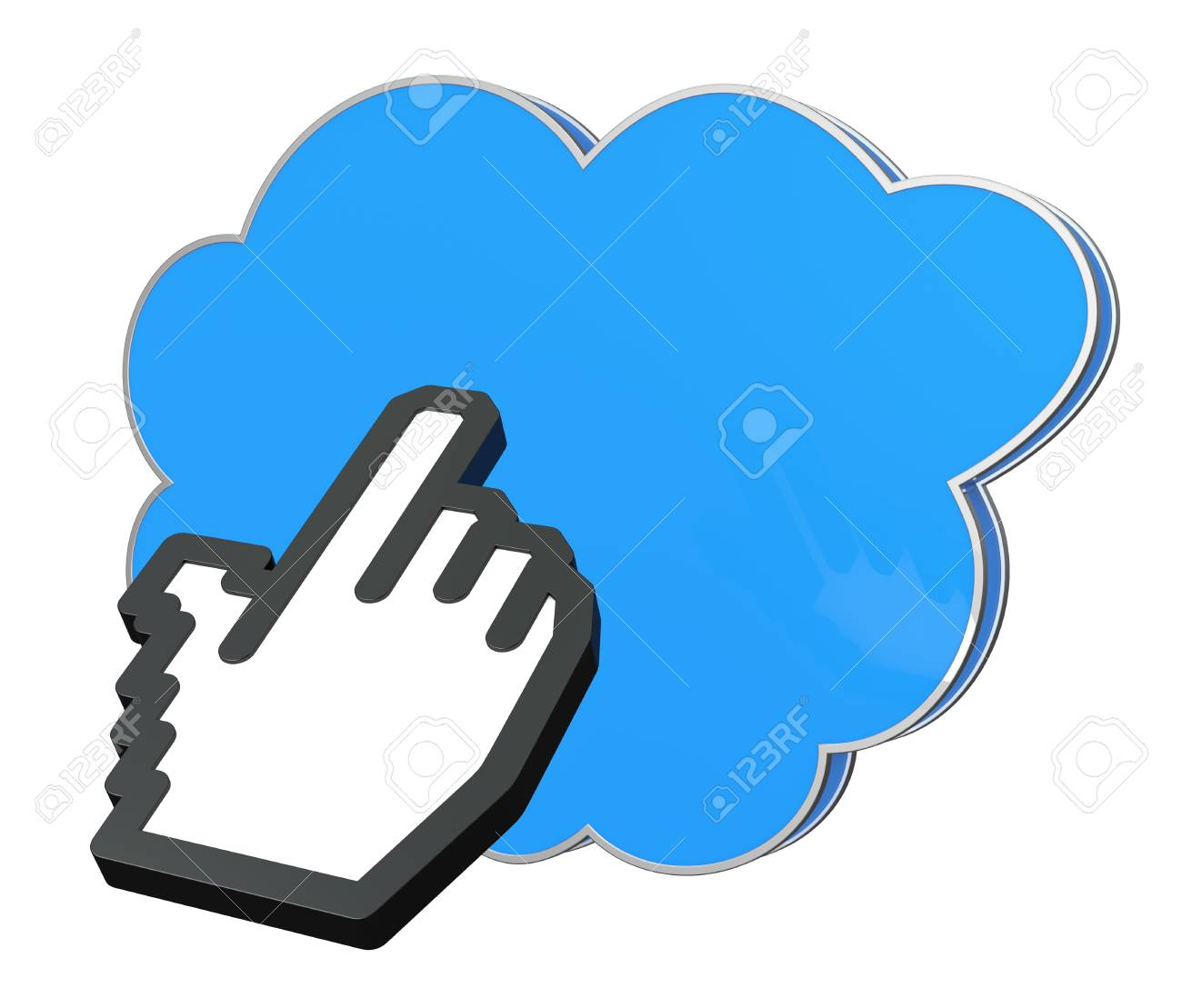 one hand icon pointing to a cloud (3d render) Stock Photo - 14508656