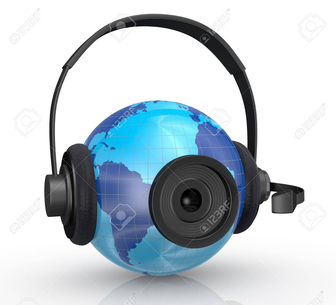 one world globe with headphones,mic and a webcam, concept of global communications (3d render) Stock Photo - 14936371