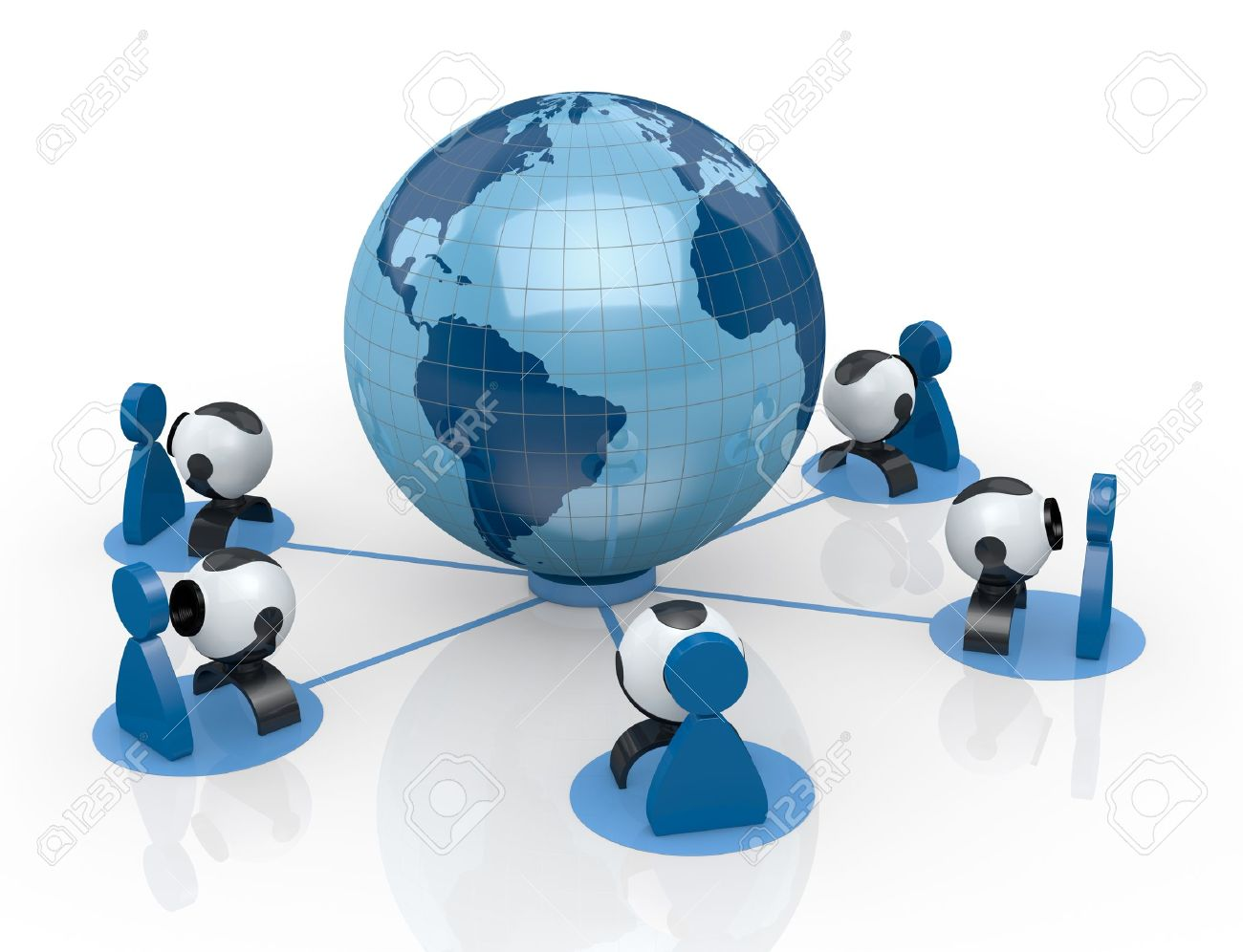 world globe with some webcam and stylized people around it (3d render) Stock Photo - 14936374