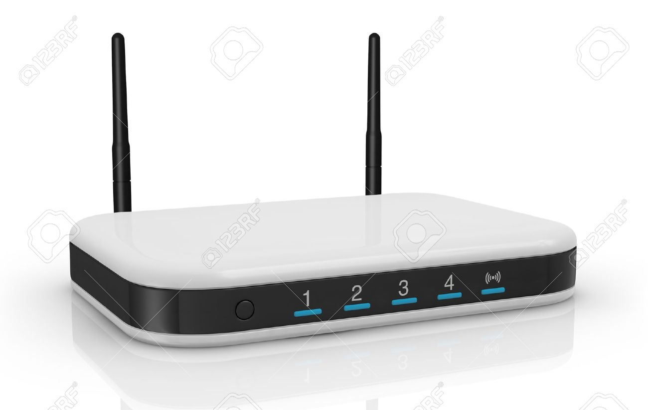 One Modem Router With Two Antennas For Wireless Network (3d Render ...