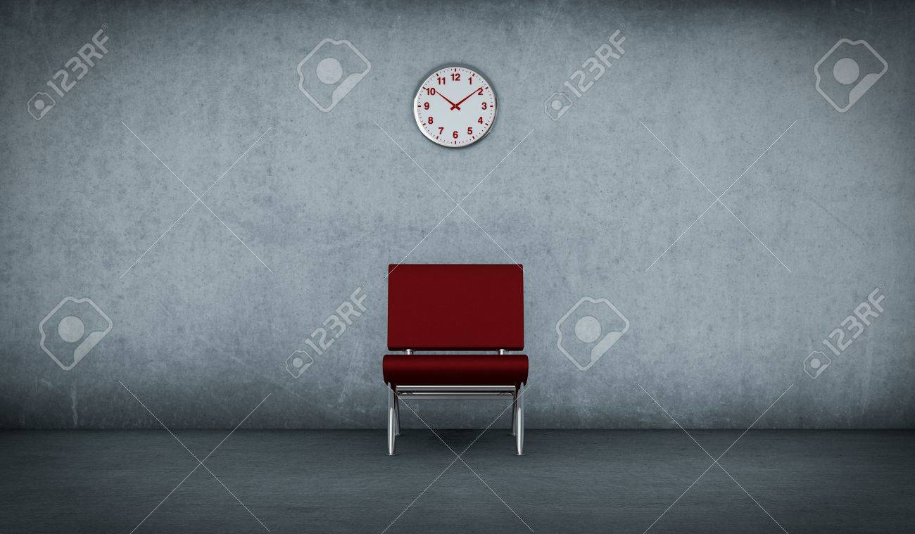 Red chair photography - One Dirty Room With A Red Chair And A Clock On The Wall 3d Render
