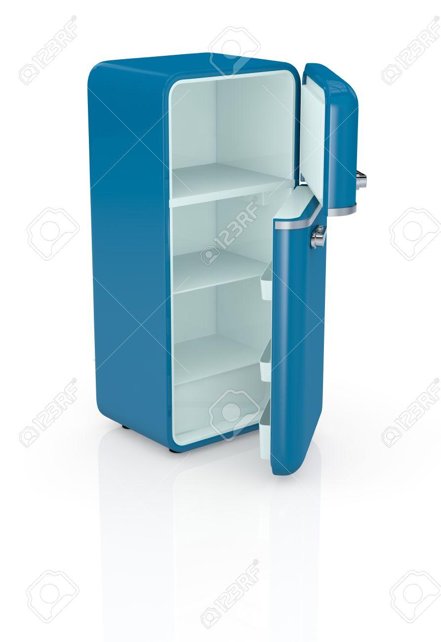 banque dimages un frigo bleu vintage les portes sont ouvertes et le frigo est vide rendu 3d - Frigo Bleu