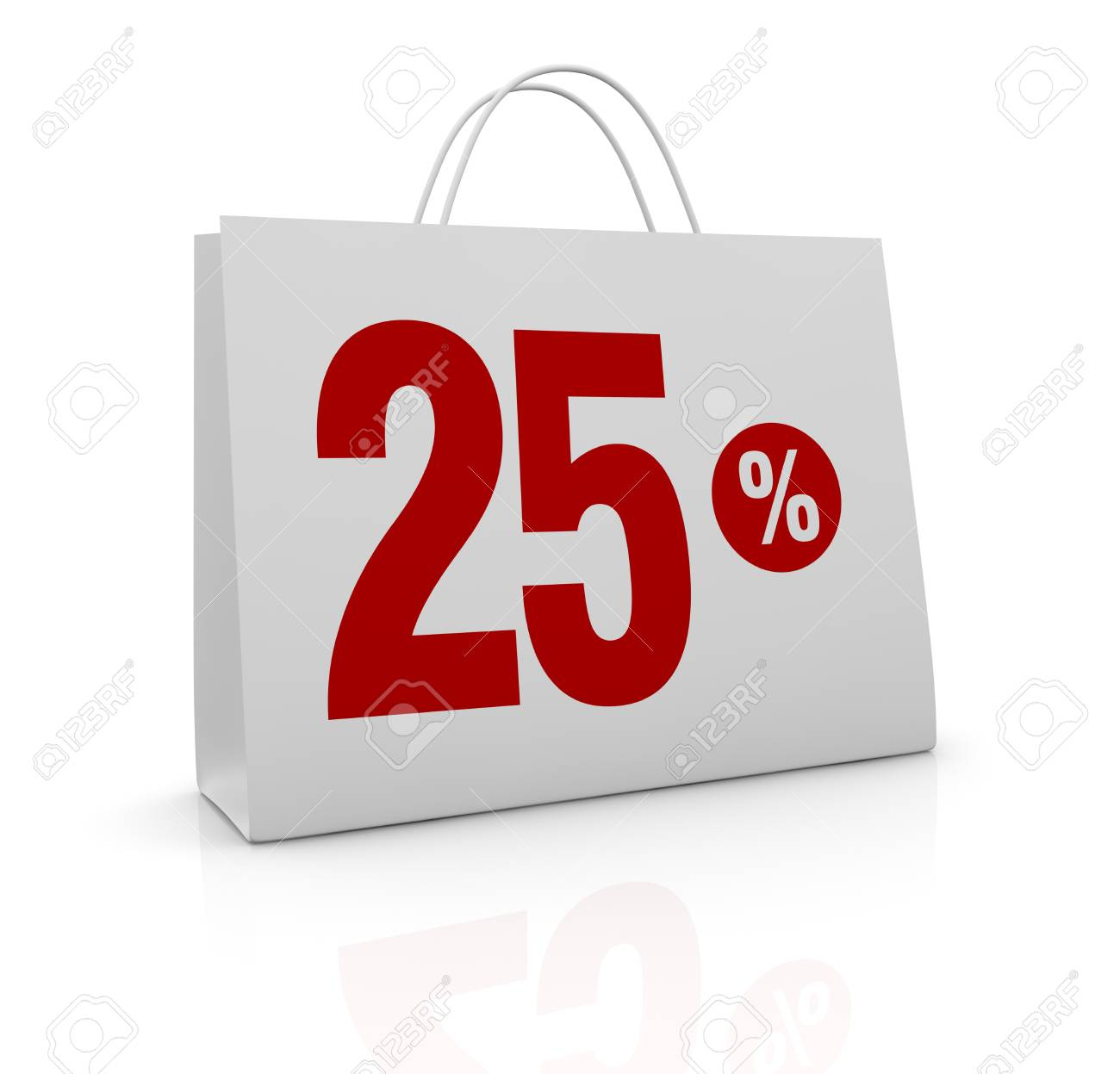 one shopping bag with the number twenty five and the percent symbol (3d render) Stock Photo - 16847028