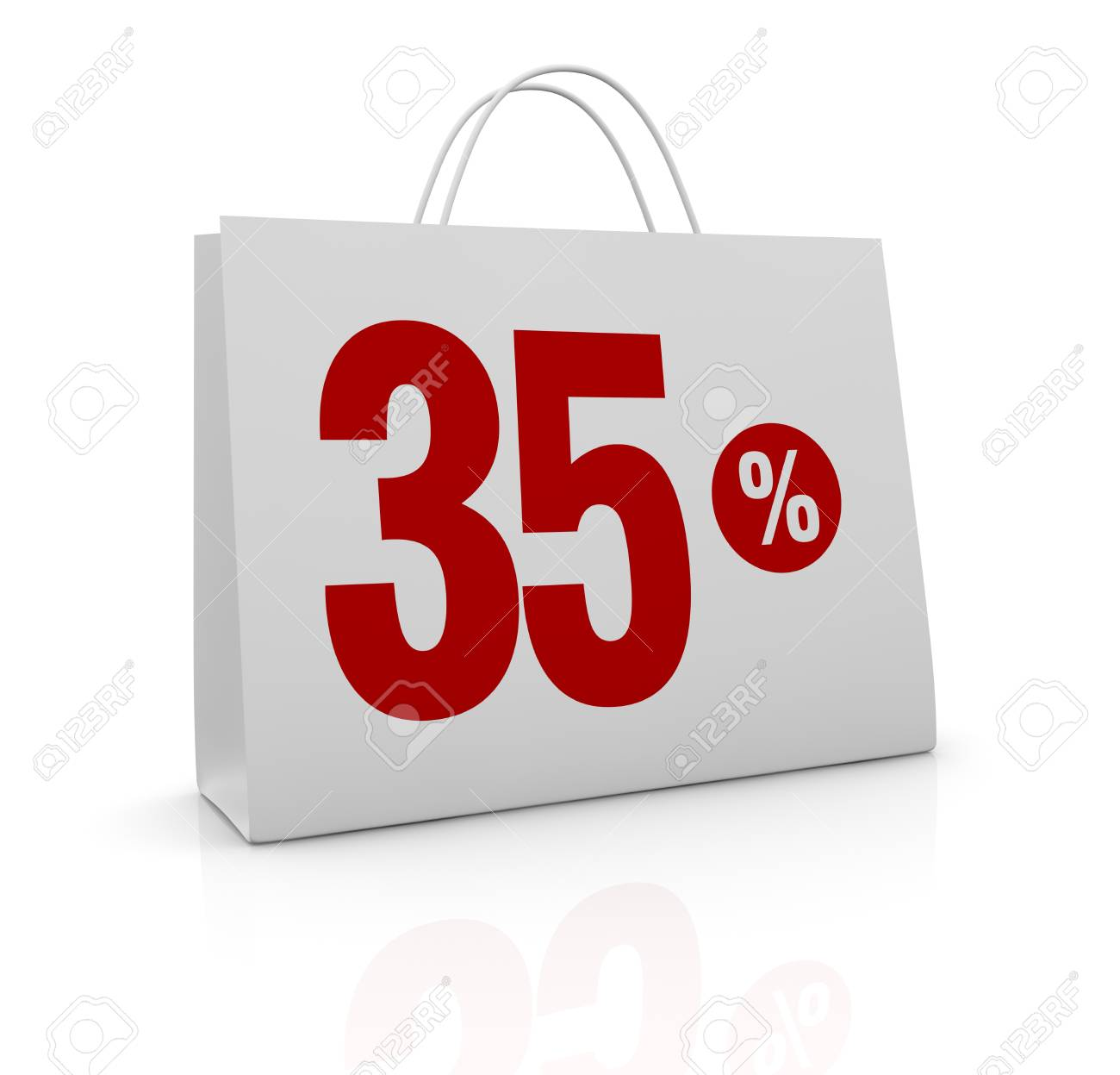 one shopping bag with the number thirty five and the percent symbol (3d render) Stock Photo - 16847036