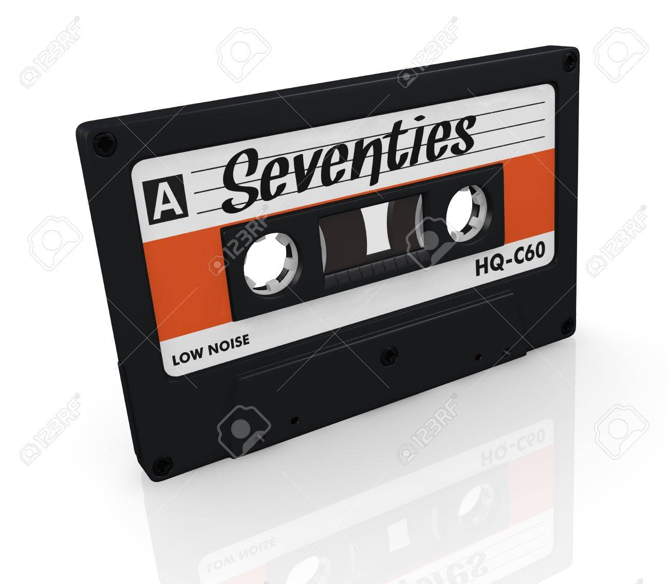 one compact cassette with text: seventies, on the label (3d render) Stock Photo - 17235293